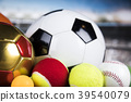 Sports balls with equipment 39540079