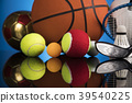 Sports balls with equipment 39540225