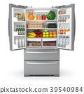 Open fridge refrigerator  full of food and drinks 39540984