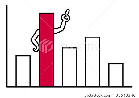 Bar graph red number one 39543346