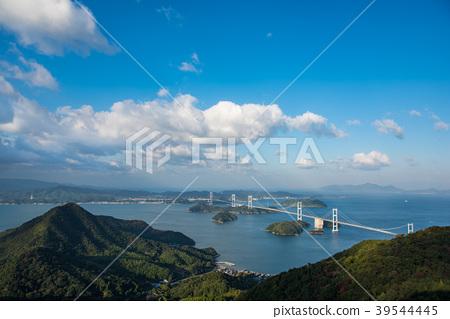 从乌龟老山观察公园看到的Shimanami Kaido Kurushima海峡大桥 39544445
