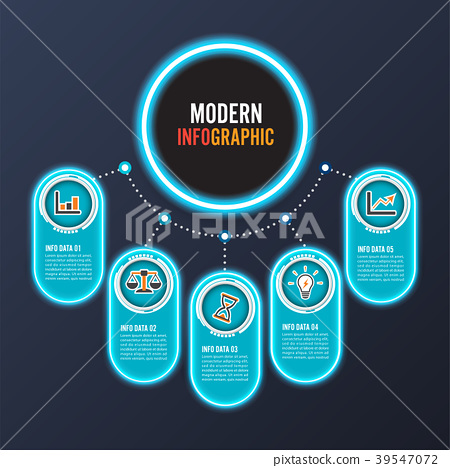 Abstract infographics neon options template. 39547072