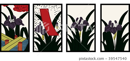 Illustration of Hanafuda   Mayu Aya (Japanese iris)   Japanese card game   Vector data 39547540