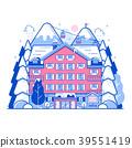 Winter Ski Resort Monoline Landscape 39551419