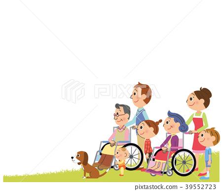 Wheelchair three generation family sideways 39552723