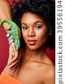 beautiful girl with chameleon 39556194