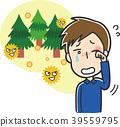 遭受花粉的一个人的例证 39559795