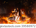 Woman sitting in burning pentagram circle, magic 39560972