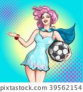 Cheerleader pop art comic style. Beautiful girl 39562154