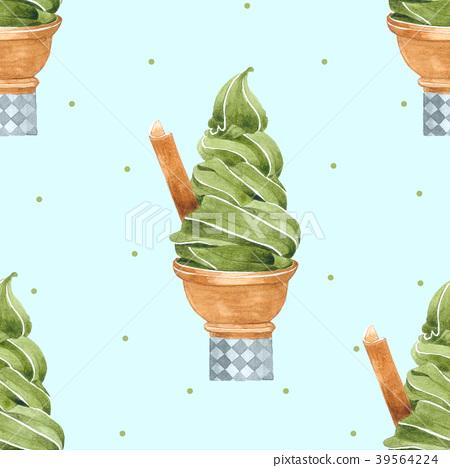 Green Tea Ice Cream Cone Seamless Pattern 39564224