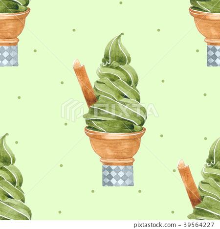 Green Tea Ice Cream Cone Seamless Pattern 39564227