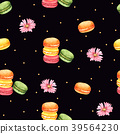 Seamless Pattern Macaroon and Pink Flower 39564230