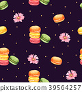 Seamless Pattern Macaroon and Pink Flower 39564257