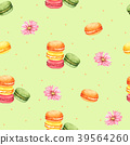 Seamless Pattern Macaroon and Pink Flower 39564260
