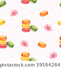 Seamless Pattern Macaroon and Pink Flower 39564264