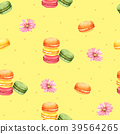 Seamless Pattern Macaroon and Pink Flower 39564265