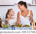 Mother and daughter eating salad 39572766