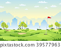 Countryside golf course with flags 39577963