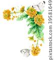 强奸开花和白色蝴蝶装饰框架与水彩 39581649