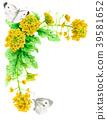 强奸开花和白色蝴蝶装饰框架与水彩 39581652
