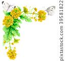 强奸开花和白色蝴蝶装饰框架与水彩 39581822
