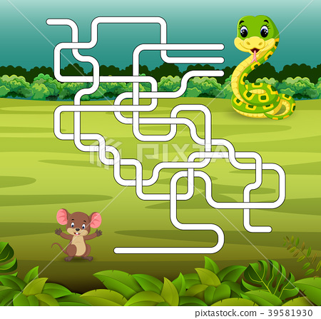 game template with snake and mouse 39581930