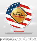 Happy labor day American flag banner collection 39583171