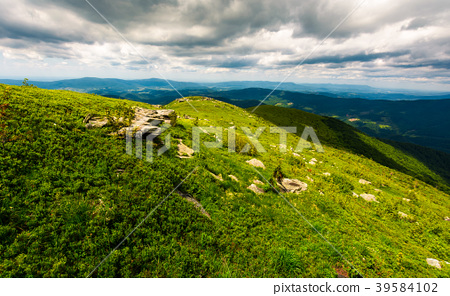 grassy slope of the mountain on a cloudy day 39584102