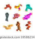 Flatvector set of warm woolen and knitted scarves 39586234