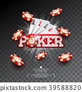 Casino Illustration with poker card and falling 39588820