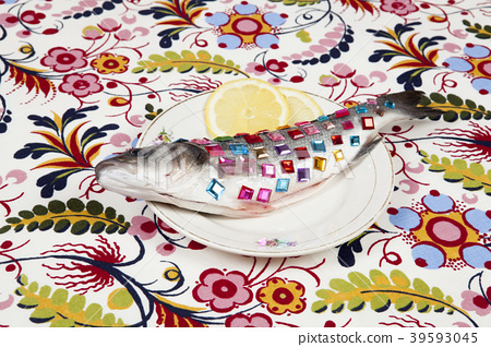 floral lemon fish plate precious gems 39593045
