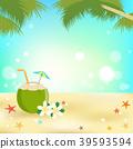 Summer background banner and frame coconut juice 39593594