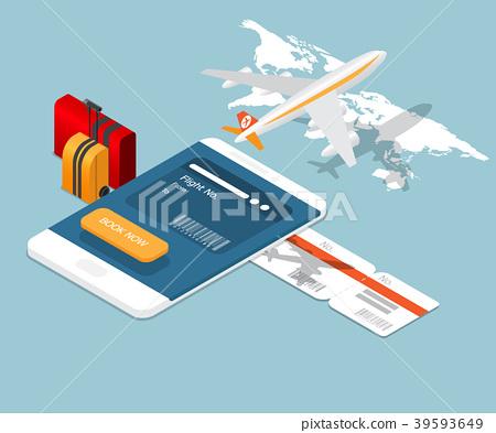 airplane ticket online booking on smartphone 39593649