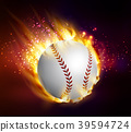 Dirty baseball speeding through the air on fire 39594724
