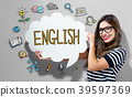 English text with woman holding a speech bubble 39597369