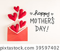 Mother's Day message with red heart cushions 39597402