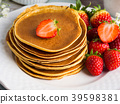 Stack of oatmeal pancakes with strawberries 39598381