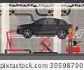 Mechanic near car on lifting platform 39598790