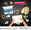 Top view illustrations set of artist workplace 39598971