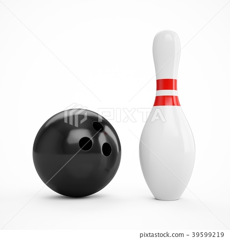 3D rendering bowling ball and pin 39599219