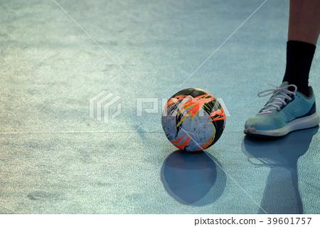 Ball on court during a break of handball match 39601757