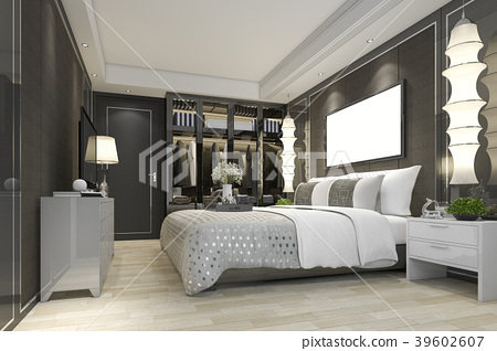 bedroom suite tv with wardrobe and walk in closet 39602607