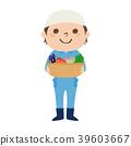 一位男性農夫的例證與微笑一起使用。按佔領。 39603667