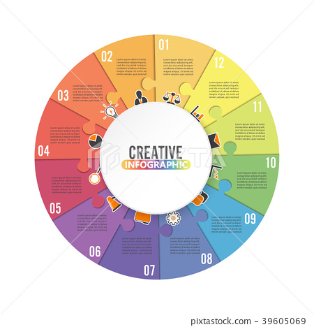 Circle chart infographic template with 12 options. 39605069