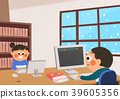 Vector illustration - children who enjoying winter activities during the winter season. 010 39605356