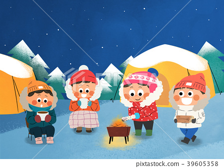 Vector illustration - children who enjoying winter activities during the winter season. 009 39605358