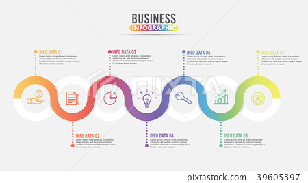 7 Parts infographic design vector and marketing. 39605397