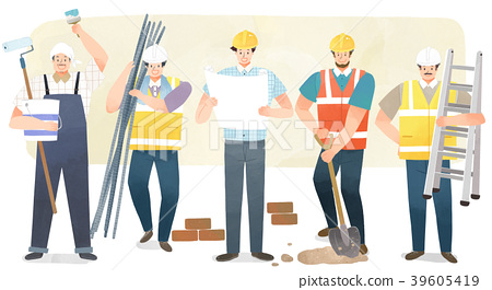Vector illustration - People who have jobs as same trail. People working at various jobs  without distinction of sex, men or women recently. 009 39605419