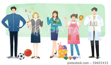 Vector illustration - People who have jobs as same trail. People working at various jobs  without distinction of sex, men or women recently. 010 39605433
