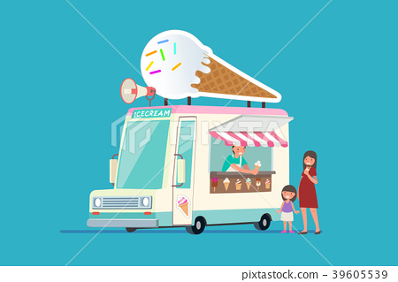 Vector - Illustrated food truck collection. colorful flat design for street food and cafe truck. 001 39605539